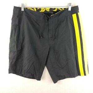 Polo By Ralph Lauren Board Shorts Swim Trunks Black Yellow Men Size 35