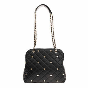 RRP €290 POLLINI Shoulder Tote Bag Quilted PU Leather Studded Chain Strap
