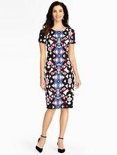 NEW $159 TALBOTS Black,Blue,Pink Geometric Triangles Sheath Dress Sz 12