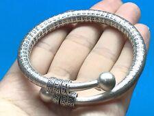 Solid 925 Sterling Silver Mens Buddhism Scripture Torque Bangle Cuff Bracelet