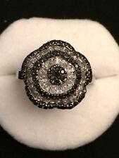 Anello in argento 925 a fiore con topazio e spinello nero, vintage A26