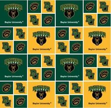 Cotton University of Baylor Bears College Team Cotton Fabric Print by the Yard