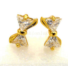 fashion1uk Girl 24K Yellow Gold Plated Simulated Diamond Small Bow Stud Earrings