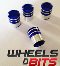 Blue and Silver Striped Aluminium Valve Caps For SKODA SMART Cars Vans SUV