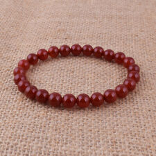 Beads Stretch Bracelets Jewelry Gift 8mm Natural Red Agate Gemstone Round