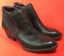 """Born Black Pebbled Leather ANKLE BOOTS 2"""" Heel Elastic Gusset Size 6 1/2 37 GUC"""