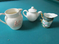 WEDGWOOD PITCHER QUEENSWARE PINK WHITE - ROSENTHAL CREAMER -ROYAL DOULTON TEAPOT