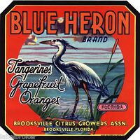 ORIGINAL BLUE HERON CRATE LABEL FLORIDA VINTAGE BROOKSVILLE 9X9 WADING BIRD 1940