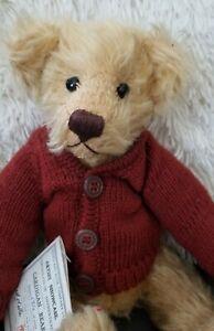 """CARDIGAN BEAR Dean's Rag Book Ltd Edition jointed MOHAIR Teddy 13"""" Janet Clark"""