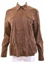 DANIEL HECHTER Womens Shirt UK 18 XL Brown Cotton  MJ03