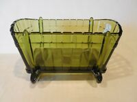 Vintage Indiana Glass Avocado Green  BASSINET CRADLE BOWL TRINKET CANDY DISH