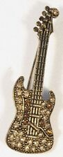 Brooch Electric Guitar Red & Clear Crystals Musical Gift Present Pin Badge TUTOR