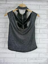 FOREVER NEW Off shoulder halter top Sz 14 Black, silver Exposed zip