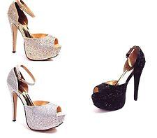 Women Rhinestone Prom Wedding Bridal Open Toe W/Ankle Strap Platform Heels Shoes