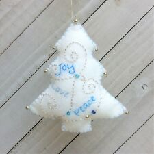 Christmas Tree Ornament  Holiday Felt Embroidery Kit in Silver and Blues