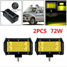 2X 72W Car Off-road Double Row Yellow LED Work Light Vehicle Headlights Fog Lamp