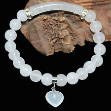 8mm Natural Moonstone Bracelet w/Curved Columnar Bead and Heart Pendant 7.8""