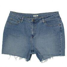 St Johns Bay Womens Jeans Shorts Cut Off Size 14 Mid Rise Stretch Blue Denim