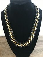 Beautiful Monet Necklace Black Bead W Gold Chain Interweave Classic Statement