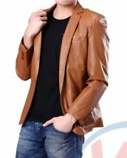 Brand New Men's Genuine soft Lambskin Leather ONE BUTTON Blazer Jacket Coat BL16
