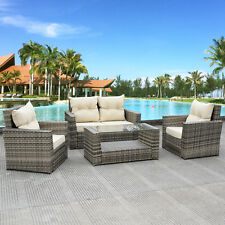 4pcs outdoor patio rattan wicker furniture set loveseat cushioned garden pool