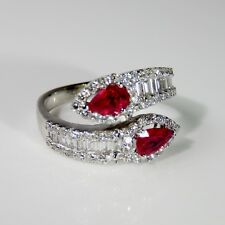 BRIGHT RED Ruby Diamond Bypass Ring 18K Gold Moi Toi Engagement Wedding Band