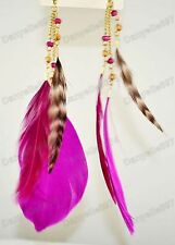 LONG feathers MAGENTA purple BIG FEATHER EARRINGS bohemium BOHO bird gold pl