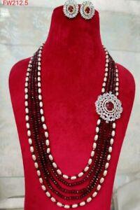 Indian Pakistani AD CZ Long Mala Necklace Bridal Gold Plated Wedding Jewelry Set