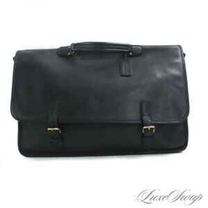 Vintage Coach Made in USA Black Unlined Leather Flap Briefcase Atache Bag NR