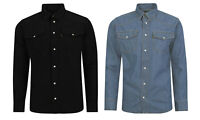 Denim Shirt Classic Western Jeans Shirts   Blue & Black sizes S M L XL 2XL 3XL