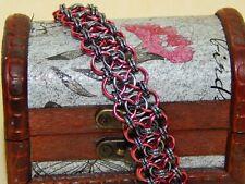 Anodised Aluminium Chain Maille Ladder Bracelet Handmade Black Ice & Dark Rose