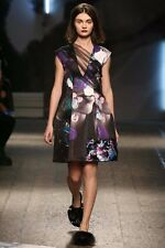 NEW MSGM FACE PRINT FLORAL RUNWAY DRESS Size EU 40 US 4 $1300 MADE IN ITALY