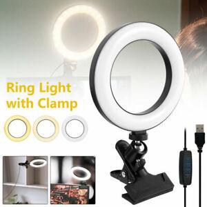 USB LED Ring Light Video Selfie Clip On Lighting For PC Monitor Clip On Laptop