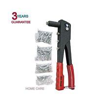 New RivetGun 4 Nozzle Hand Riveter Complete Riveting Kit Tool With 60 Pop Rivets