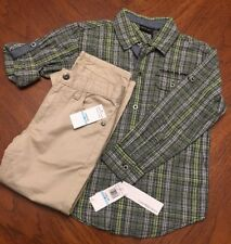 CALVIN KLEIN 2 Piece Long Sleeve Shirt and Khaki Pants Outfit BOYS NWT Size 5