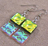 DICHROIC Glass EARRINGS Yellow Gold & Clear Rectangle Bubbles Dangle Surgical 1""
