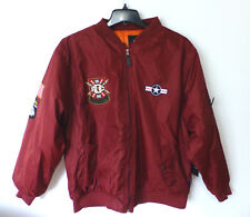 Rocawear Coat Mens Size Medium Burgundy Patched Embroidered Bomber Jacket New