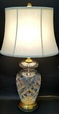 Vintage Hollywood Regency Heavy Cut Crystal and Brass Lamp w/Brass Finial & Harp
