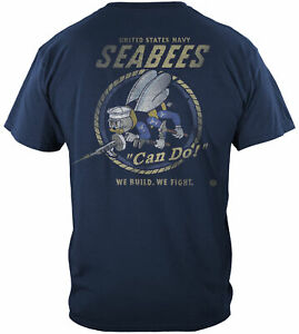 Navy Seabees T Shirt Construction Battalion Can Do American Military Tee S - 5XL