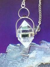 RARE LARGE TIBETAN HERKIMER DIAMOND AND SILVER DOWSING PENDULUM, CHAIN AND POUCH