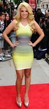 NWT Authentic Herve Leger S Ombre Sunny Lime Off-Shoulder Bandage Dress - $1,590
