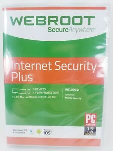 WEBROOT SecureAnywhere Internet Security PLUS - 3 Devices / 1 Year Subscr - New!