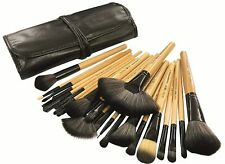 24 Piece Makeup Brush Set with Storage Pouch - Bamboo Free Shipping UK