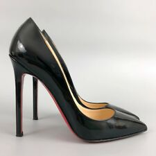 Christian Louboutin Women Black Leather PIGALLE 120 Pump Heel Shoe Size 36.5 37
