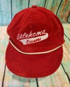 Vintage 1980s Oklahoma Sooners OU Red Corduroy Strapback Hat Cap BROKEN STRAP