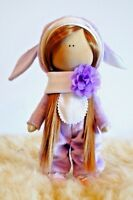 New Handmade Fabric Cloth Doll 30cm Brown Hair Toy Gift Baby Stretch Stuffed Fur