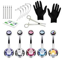 BodyJ4You 20PCS Piercing Kit Stainless Steel 14G Double CZ Belly Piercing Ring