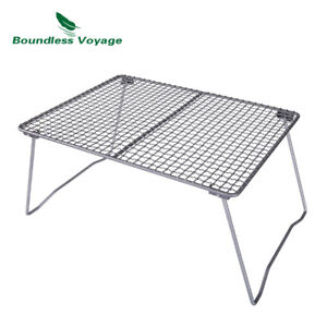 Titanium Charcoal BBQ Grill Net with Folding Leg Camping Beach Picnic Barbecue