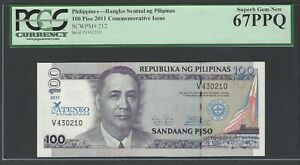 Philippines 100 Piso 2011 P212 Uncirculated Graded 67