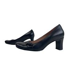 CLARKS Ladies Womens Shoes Size UK 6 EU 39 Black Leather Court Heels